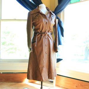 Vintage Ladies Leather Trench Coat M/L